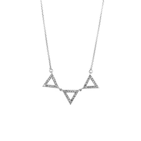 Triangle Pendant with Chain with 0.16 Carat TW of Diamonds in Sterling Silver