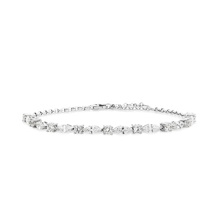 Stud Earring & Bracelet Set with Curbic Zirconia in Sterling Silver