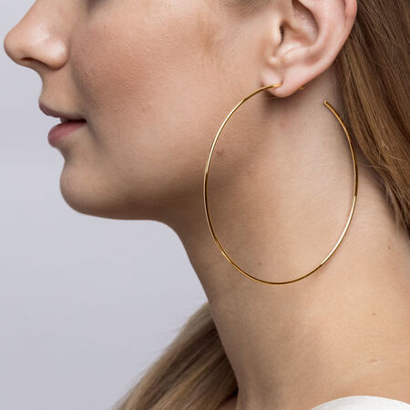 68mm Open Hoop Earrings In 10kt Yellow Gold