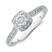 Evermore Vintage Halo Engagement Ring with 0.54 Carat TW of Diamonds in 14kt White Gold
