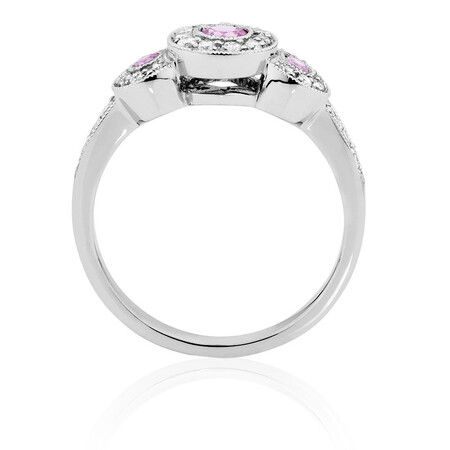 Ring with Pink Sapphire & 1/4 Carat TW of Diamonds in 10kt White Gold