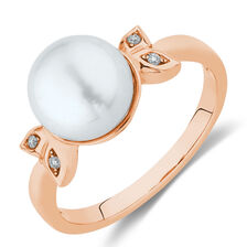 Ring with Diamonds & Cultured Freshwater Pearls in 10kt Rose Gold
