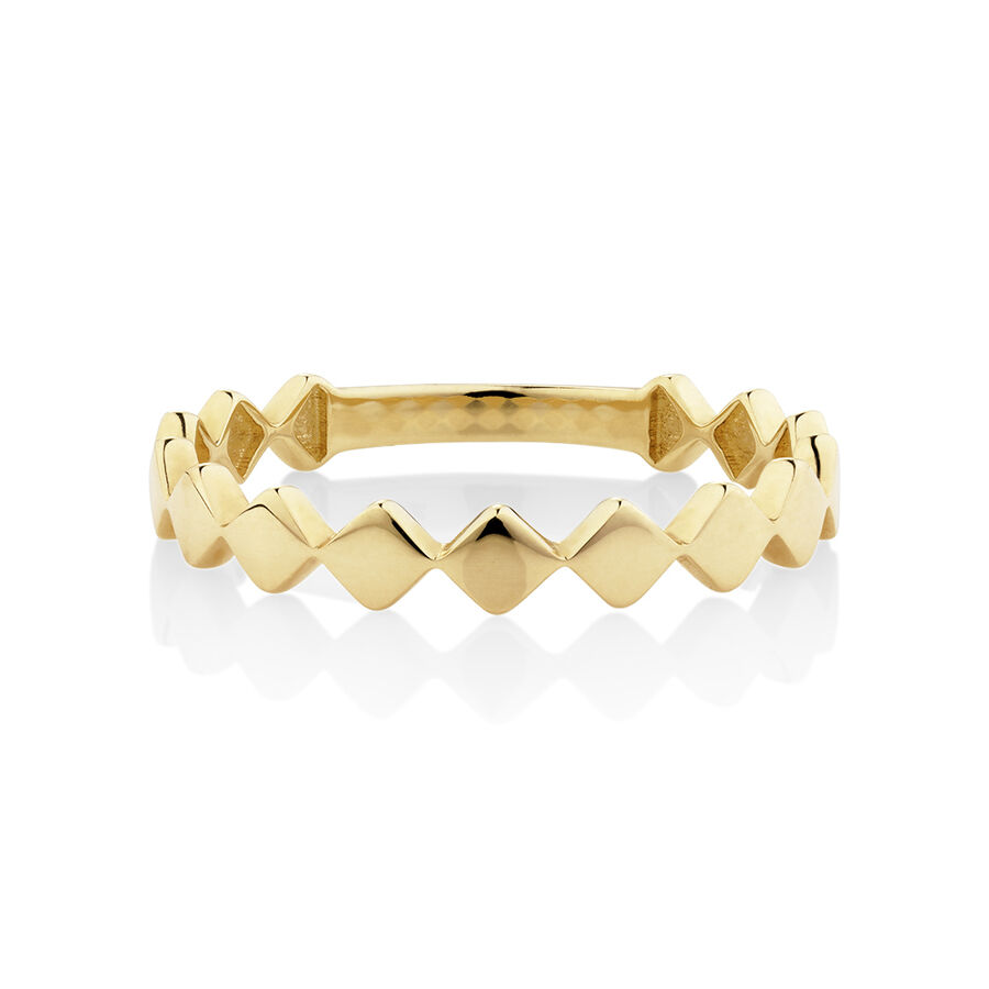 Kite Shaped Stacker Ring in 10kt Yellow Gold