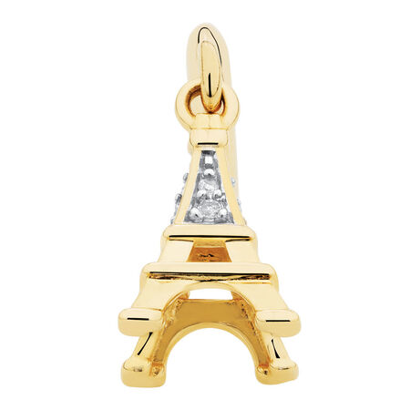 Diamond Set Eiffel Tower Dangle Charm in 10kt Yellow Gold