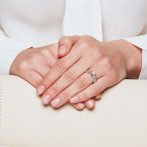 Ideal Cut Engagement Ring with 1 Carat TW of Diamonds in 14kt White Gold