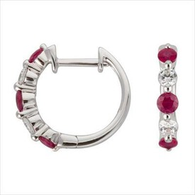 Mini Hoop Earrings with Natural Ruby & 0.19 Carat TW of Diamonds in 10kt White Gold