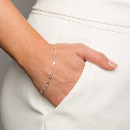 "19cm (7.5"") Singapore Bracelet in Sterling Silver"
