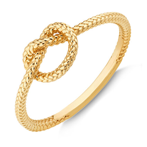 Overhand Rope Knot Ring in 10kt Yellow Gold