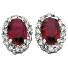 Stud Earrings with Created Ruby & Diamonds in 10kt Yellow & White Gold