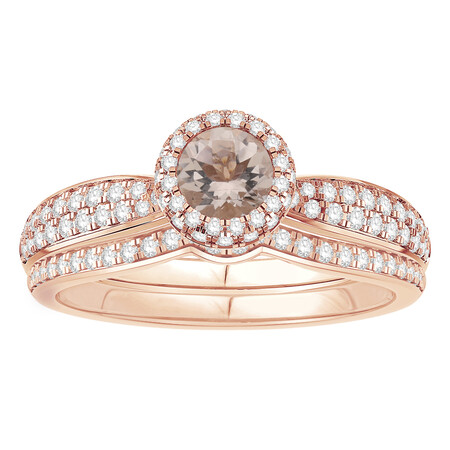 Ring with 0.88 Carat TW of Brown & White Diamonds in 14kt Rose Gold
