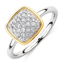 Cushion Stacker Ring with 1/4 Carat TW of Diamonds in Sterling Silver & 10kt Yellow Gold