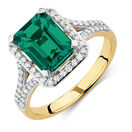 Ring with Created Emerald & 1/3 Carat TW of Diamonds in 10kt Yellow & White Gold