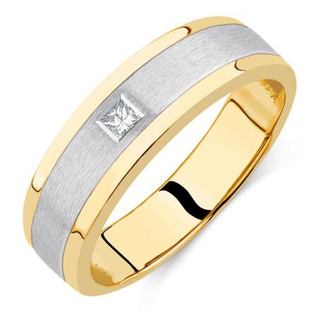 Men's Diamond Set Ring in 10kt Yellow & White Gold
