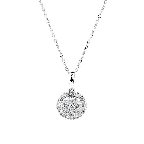 Cluster Pendant with 0.50 Carat TW of Diamonds in 10kt White Gold