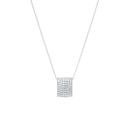Bar Pendant with Cubic Zirconia in Sterling Silver