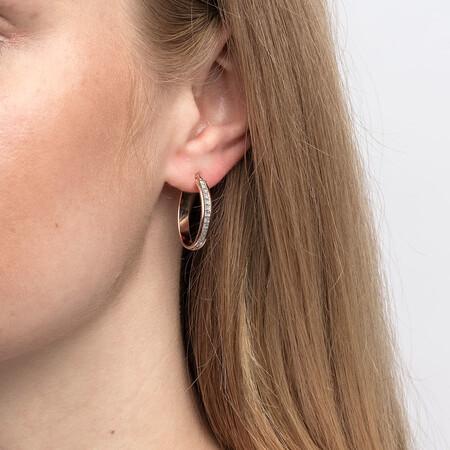 22mm Oval Glitter Hoop Earrings In 10kt Rose Gold