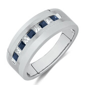 Men's Ring with 0.30 Carat TW of Diamonds & Sapphire in 10kt White Gold