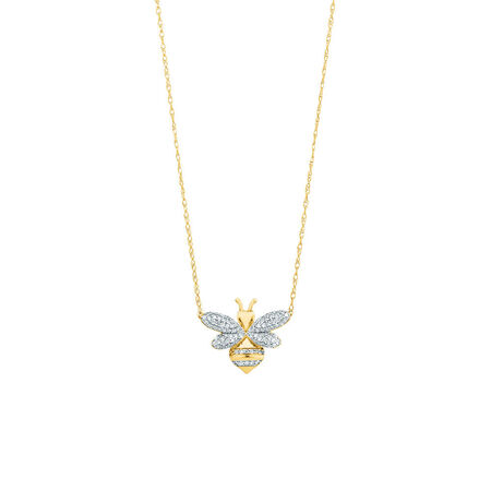 Bee pendant with 0.20 Carat TW Diamonds in 10kt Yellow Gold