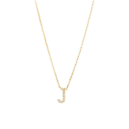 """""""J"""" Initial Necklace with 0.10 Carat TW of Diamonds in 10kt Yellow Gold"""