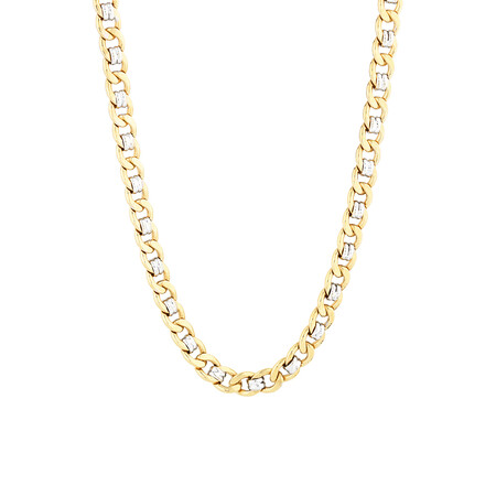 "55cm (22"") Fancy Curb Chain in 10kt Yellow & White Gold"