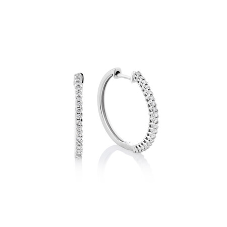 Hoop Earrings with 0.25 Carat TW Of Diamonds in 10kt White Gold