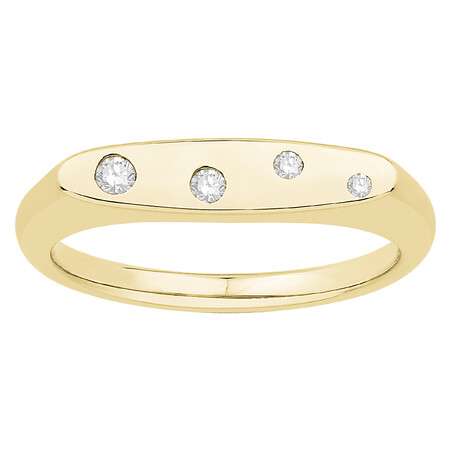 Signet Ring with Diamonds in 10kt Yellow Gold