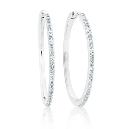 Large Huggie Earrings in 10kt White Gold With 0.42 Carat TW of Diamonds