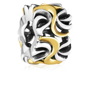 10kt Yellow Gold & Sterling Silver Swirl Pattern Charm