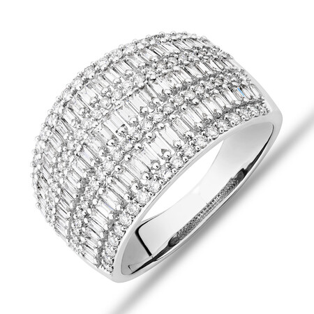 Multi Row Ring with 1.00kt TW of Diamonds in 14kt White Gold