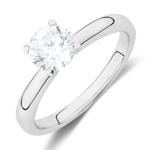 Solitaire Engagement Ring with 1 Carat TW of Diamonds in 14kt White Gold