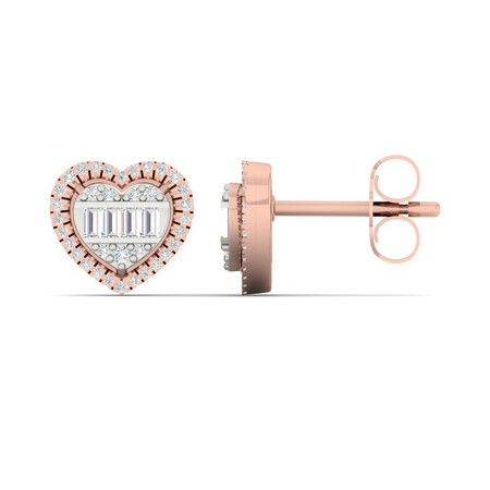 Heart Stud Earrings with 0.20 Carat TW of Diamonds in 10kt Rose Gold