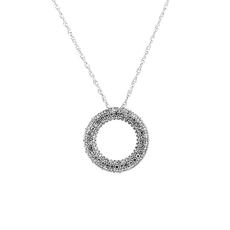Circle Pave Pendant with 0.34 Carat TW of Diamonds in 10ct White Gold with Chain