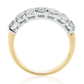 Evermore 7 Stone Wedding Band with 1 Carat TW of Diamonds in 14ktYellow & WhiteGold