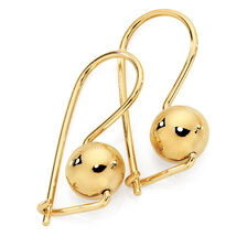 8mm Euroball Earrings in 10kt Yellow Gold