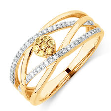 Ring with 1/4 Carat TW of Yellow & White Diamonds in 10kt Yellow Gold
