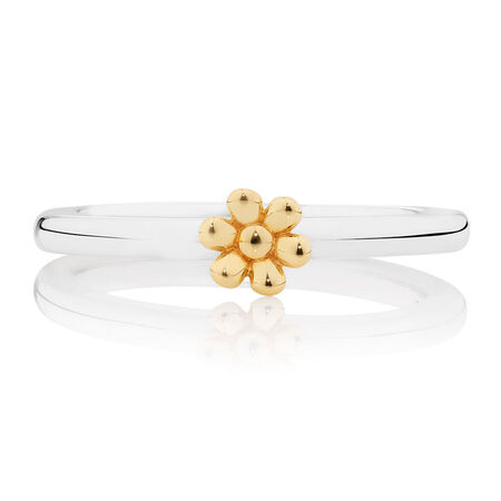 10kt Yellow Gold & Sterling Silver Daisy Stack Ring