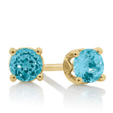 4mm Stud Earrings with Topaz in 10kt Yellow Gold