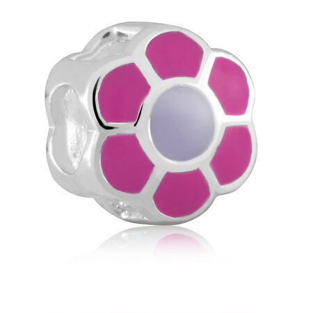 Sterling Silver & Pink & Purple Enamel Flower Charm