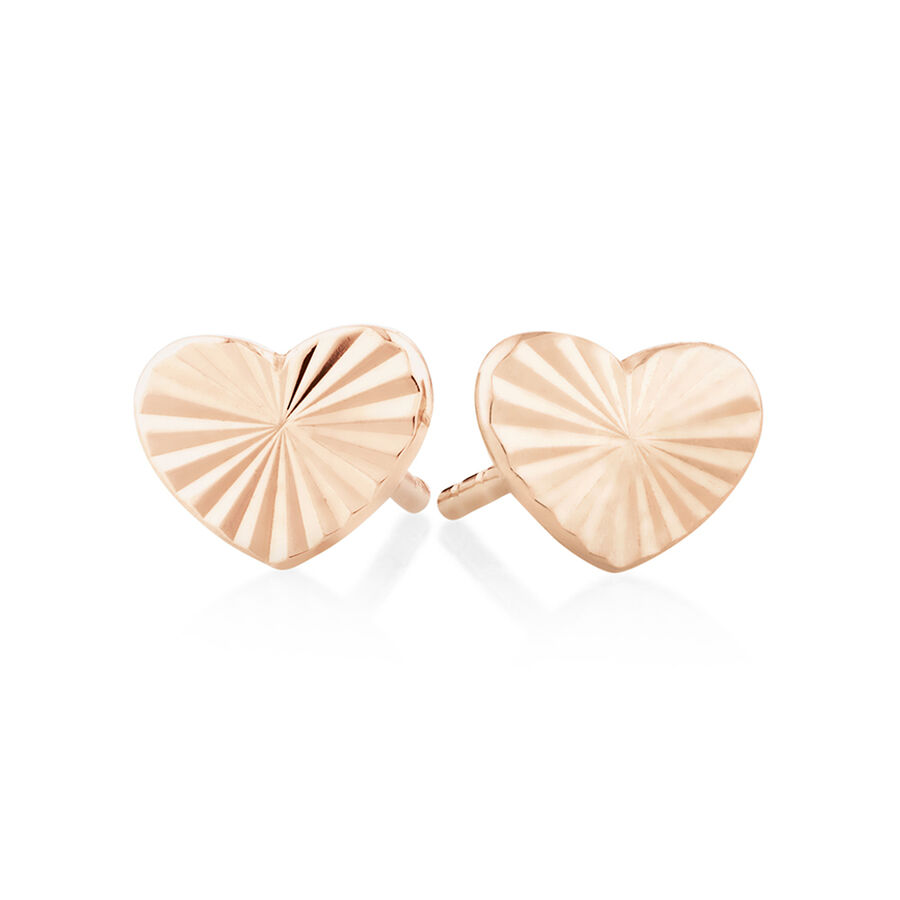 Sunray Heart Stud Earrings In 10kt Rose Gold