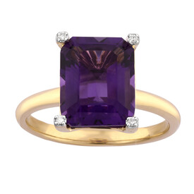 Ring with Amethyst & Diamond in 10kt Yellow Gold