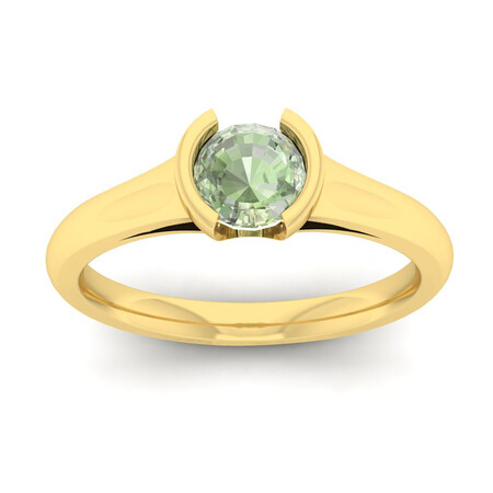 Ring with Green Amethyst in 10kt Yellow Gold