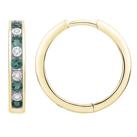 Huggie Earrings with Created Emerald & Diamond in 10kt Yellow Gold