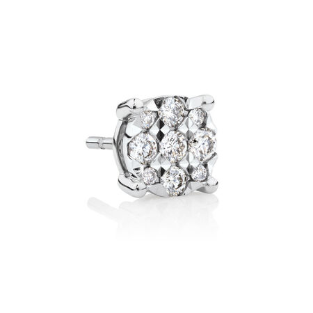 Men's Stud Earring with 1/4 Carat TW of Diamonds in 10kt White Gold