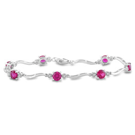 Bracelet with Created Ruby & Diamonds in Sterling Silver
