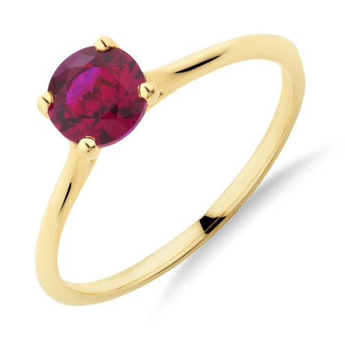 Ring with Created Ruby in 10kt Yellow Gold