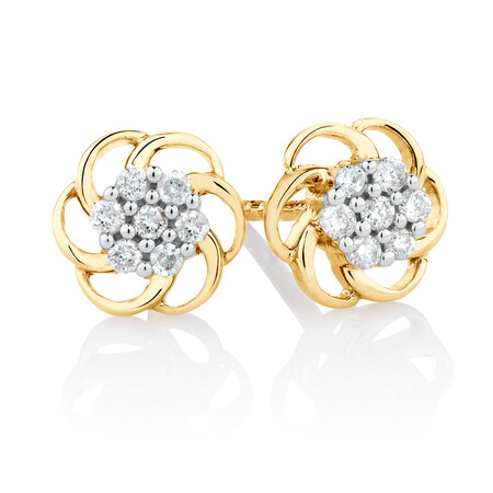 Flower Stud Earrings with 0.10 Carat TW of Diamonds in 10kt Yellow Gold