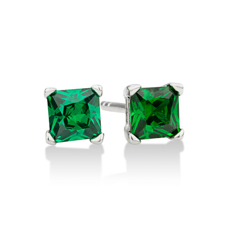 Square Stud Earrings with Emerald Cubic Zirconia in Sterling Silver