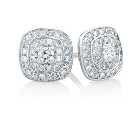 Whitefire Stud Earrings with 1/2 Carat TW of Diamonds in 18kt White Gold & 22ct Yellow Gold