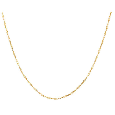 """45cm (18"""") Hollow Singapore Chain in 10kt Yellow Gold"""