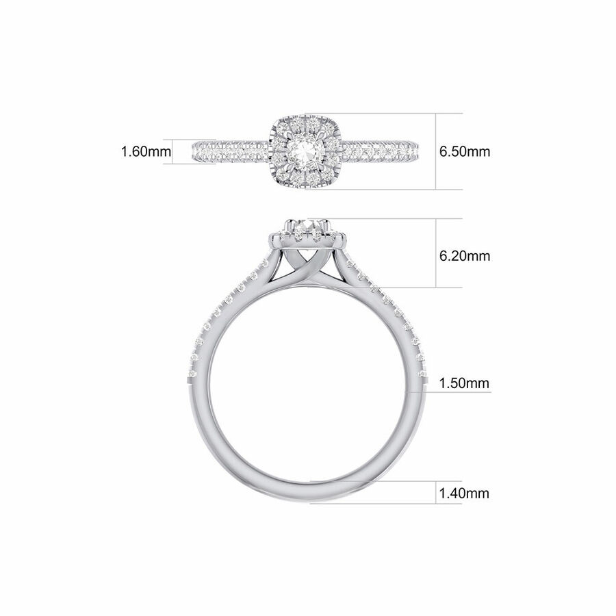 Engagement Ring with 1/2 Carat TW of Diamonds in 14kt White Gold